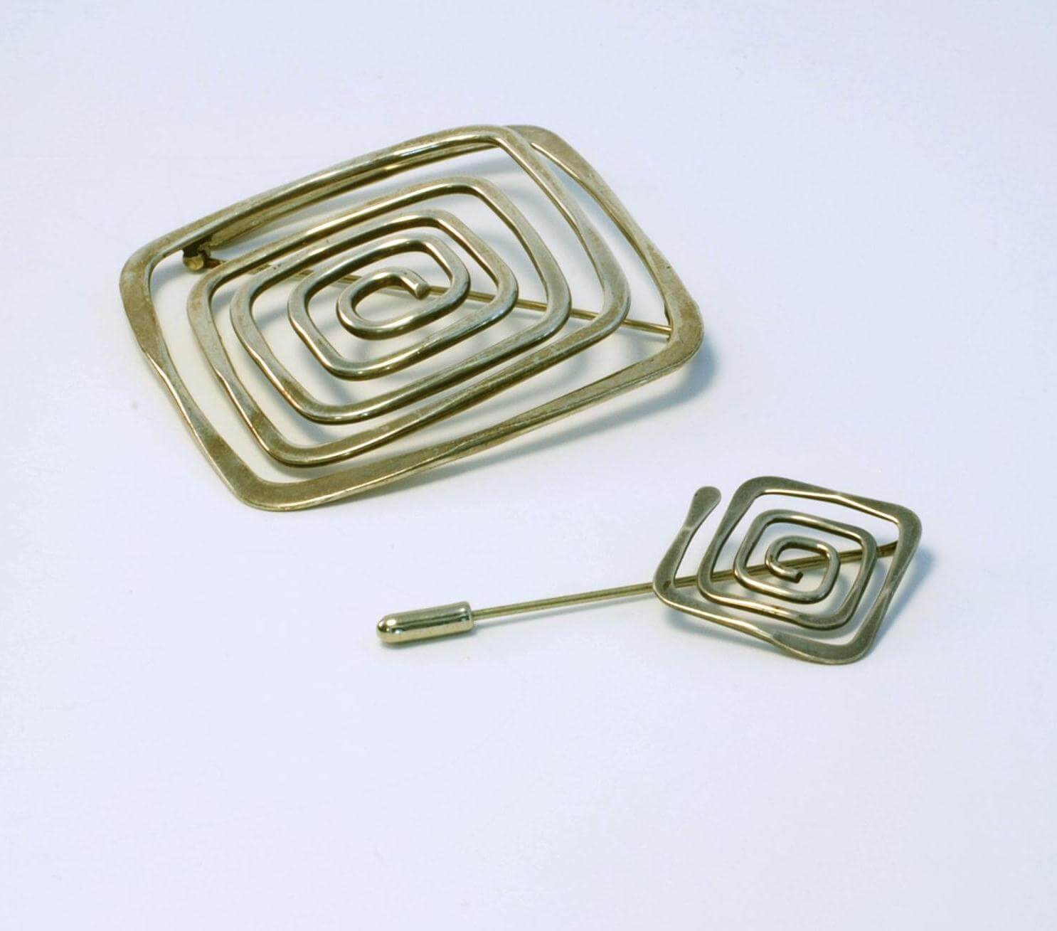 Ed Wiener sterling hammered square spiral pin and stick pin from 1948-1950